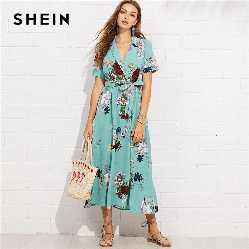 SHEIN Türkis Urlaub Boho Böhmischen Strand Kerbe Kragen Wrap Front Belted Botanische Kleid Sommer Frauen Kurzarm Maxi Kleid