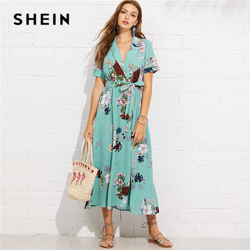 7cc07a3cb0 SHEIN Turquoise Vacation Boho Bohemian Beach Notch Collar Wrap Front Belted  Botanical Dress Summer Women Short