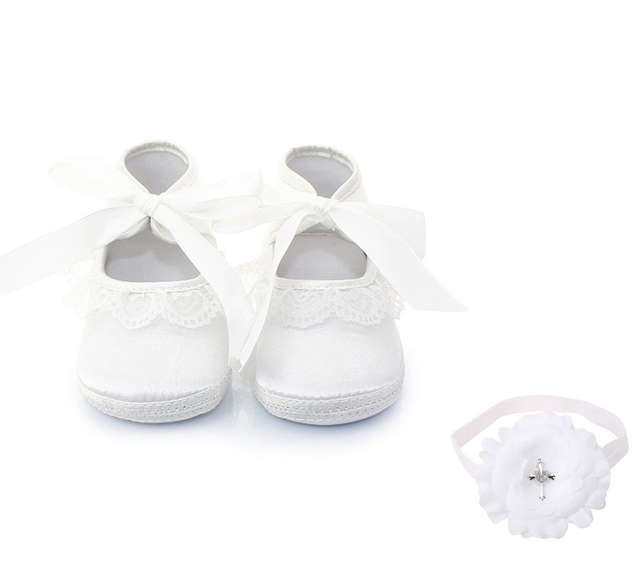 Delebao Pure White Lace Lace-up Christening Baptism Baby Girl Princess Shoes + Baptism Hair Accessory For 0-12 Months