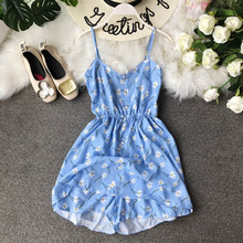 NiceMix women Rompers Floral Print Jumpsuit Summer Short Pleated Overalls Jumpsuit Female Chest Wrapped Strapless Playsuit plunge floral print side slit jumpsuit