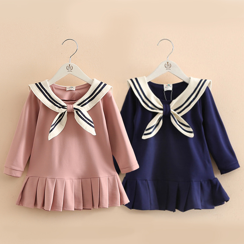 2-10Yrs Baby girl  long Sleeve school  A-Line  Dress Spring Autumn 2017 Princess Dress Dress Kids Clothes girls dress 2 10yrs girls dress kids princess dress long sleeve baby girl cute palace style blue and white floral embroidery spring 2017 new