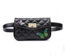 Women Waist Bag Butterfly Embroidered Belt Bag High Quality PU Leather Fanny Pack Hip Bum Bag for  Women Cell Phone Purse celula
