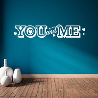 You And Me Vinyl Wall Decal Quote Hearts Love Home Decor Word Art Sticker