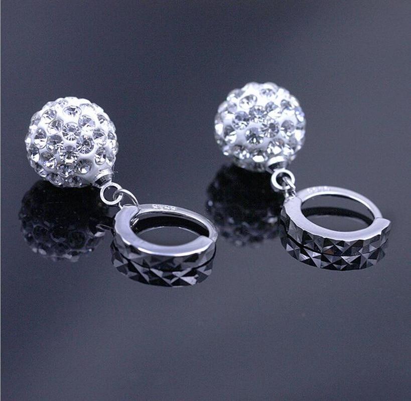 925 puur zilver hanger oorbel vol strass bal oor gesp oorbellen mode - Mode-sieraden - Foto 2