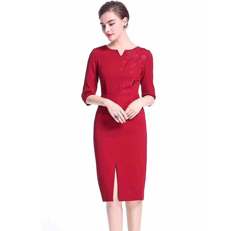Robe red Robes Hiver Col 2018 Automne Sexy V Élégante Moulante Fendue Femme Cocktail Black Crayon Xxxl Broderie UawTYq1T