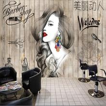 Beibehang Nordic style hair salon beauty salon barber shop background wall board custom large mural green silk cloth wallpaper цена 2017