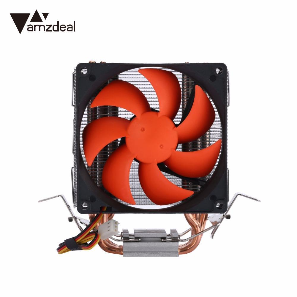 AMZDEAL Hydraulic CPU Cooler Heatpipe Fans Cooling Heatsink Radiator Practical Intelligent CPU Fan for Intel & AMD 4 heatpipe 130w red cpu cooler 3 pin fan heatsink for intel lga2011 amd am2 754 l059 new hot