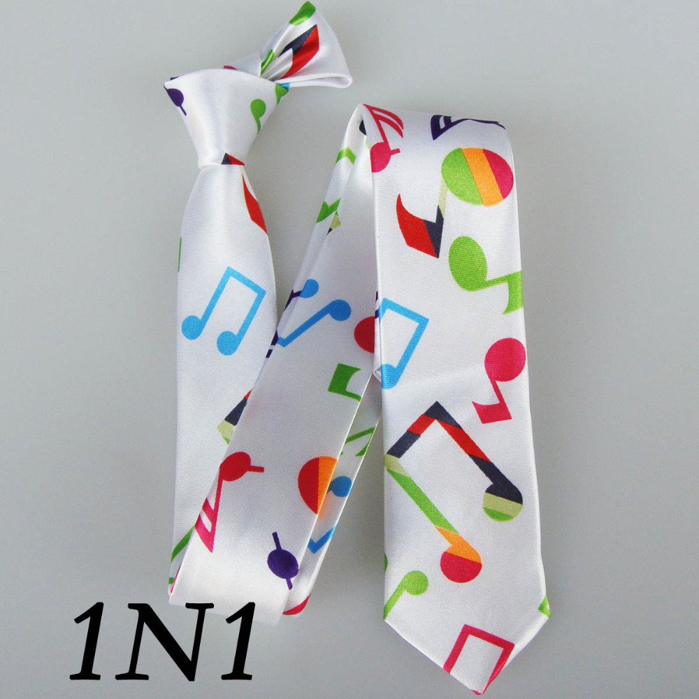 Musical Print Ties With Colours Music Pattern Tie Slim Brand Dresses 5cm Skinny Polyester White Thin Cravatta Musical Print Ties