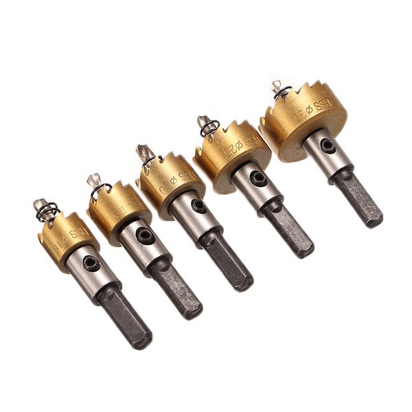 цена на New Arrival 5pcs/set Drill Bit HSS 6542 Titanium Coated Hole Saw Tooth HSS Hole Saw Cutter 16/18.5/20/25/30mm Best Price
