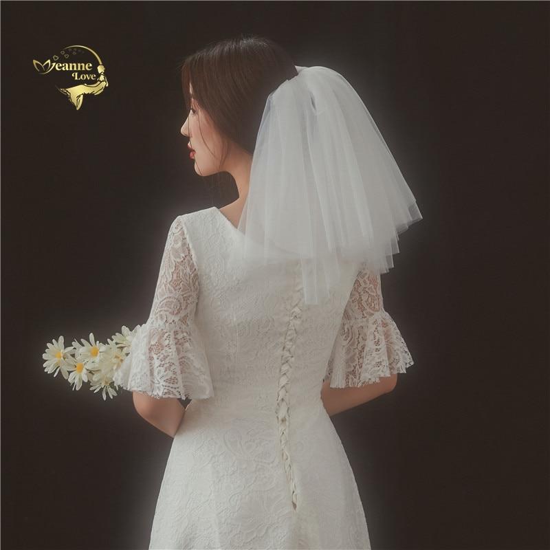 Short Mini Simple Bridal Veils Lush Mesh Shoulder Length Veils Vintage Wedding Veils For Woman White Ivory Accesoire Mariage