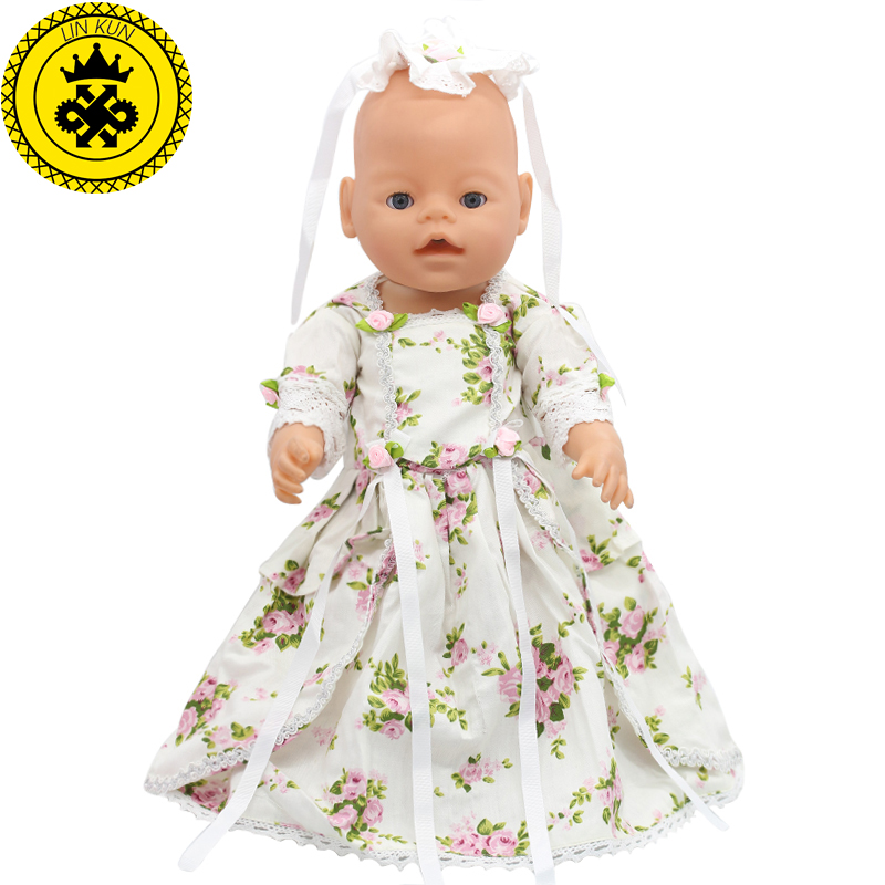 Flower Print Long Dress Princess Baby Born Doll Clothes For 43cm Zapf Doll Accessories Children Best Birthday Gift Elegant 050 high quality 15 colors princess dress doll clothes for 43cm baby born zapf doll clothes and accessories best gift for children