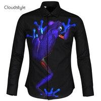 Shirtsummer Cloudstyle Preto Monstro Azul Manga Comprida 3D estilo clássico 3D hd impressão camisa Camisa dos homens do Casamento Ou código M-2XL