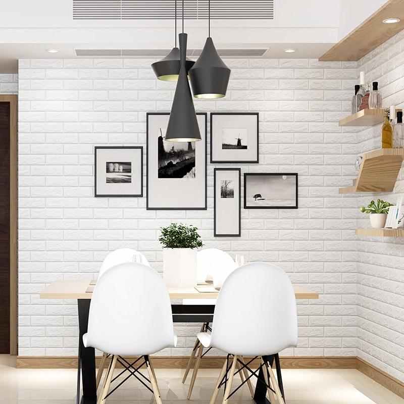 Купить с кэшбэком Self Adhesive 3D Foam Wallpaper For Kids Room DIY Creative Brick Wall Sticker Bedroom Home Decor Waterproof Decorative Stickers
