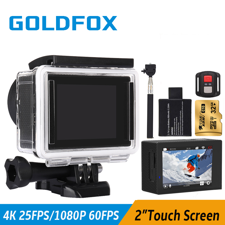 Goldfox 4K Touch Screen Action Camera Go Waterproof Pro Wifi Sport Dv Video Camera Full HD 1080P 60Fps With Remote Control Cam autumn new fashion comfortable children boys girls shoes kids sport breathable high quality caterpillar lazy shoes convenient
