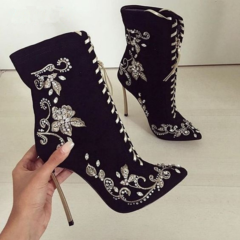 New Black Suede Crystal Stiletto Heels Ankle Boots Embroider Floral Lace-up Winter Sexy Pointed Toe High Heels Shoes Woman