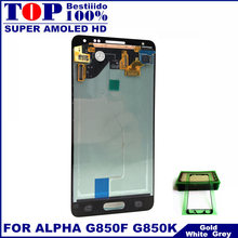 100% Tested AMOLED LCDs For Samsung Galaxy Note 4 Mini Alpha G850F G850M LCD Display Touch Screen Digitizer Assembly Sticker(China)