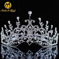Copper Wedding Hair Accessories Full Round Bridal Tiaras Diadem Pageant Flower Crystal Crowns and Tiaras Ornaments Jewelry
