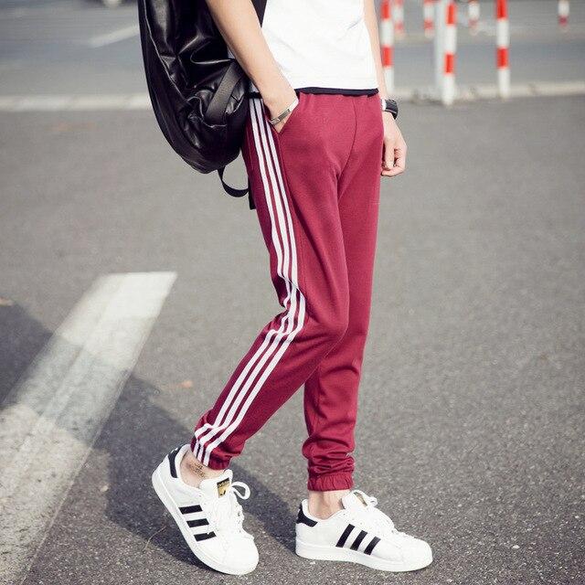 2017 new men's brand casual cotton striped joggers sportswear pants harem pants elastic drawstring sweatpants Slim Male trousers