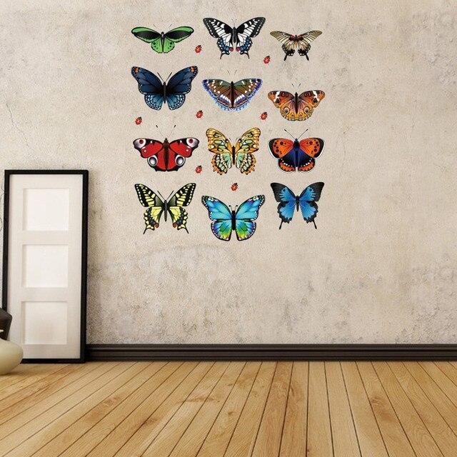 12pcs pvc 3d butterfly wall decor cute butterflies wall stickers art