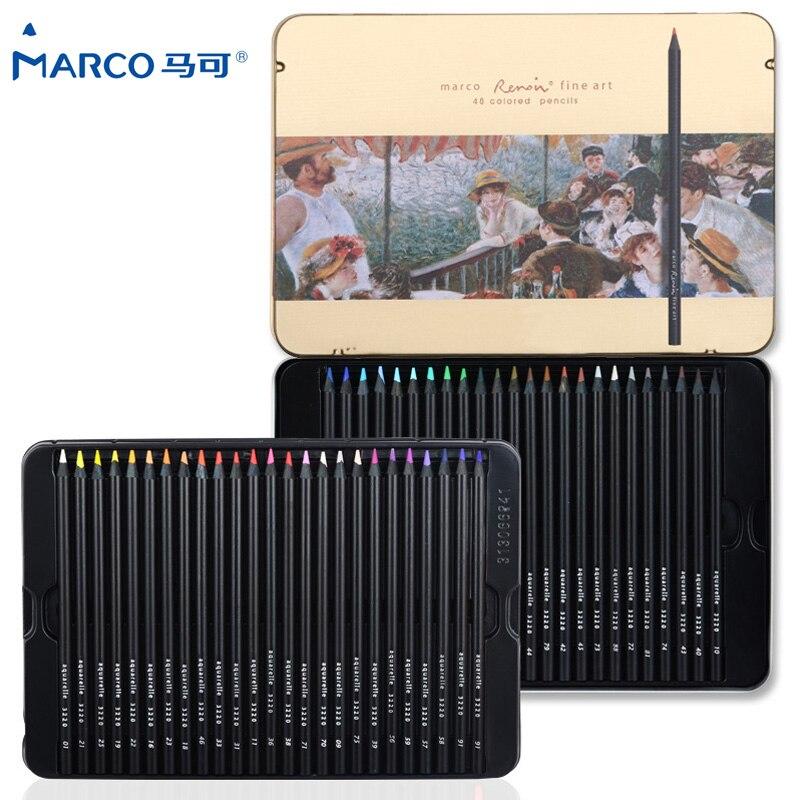 Marco Renoir 24/36/48 couleurs Non-toxique à base de crayon de couleur à base grasse crayons de couleur professionnels lapis de cor pour les fournitures scolaires