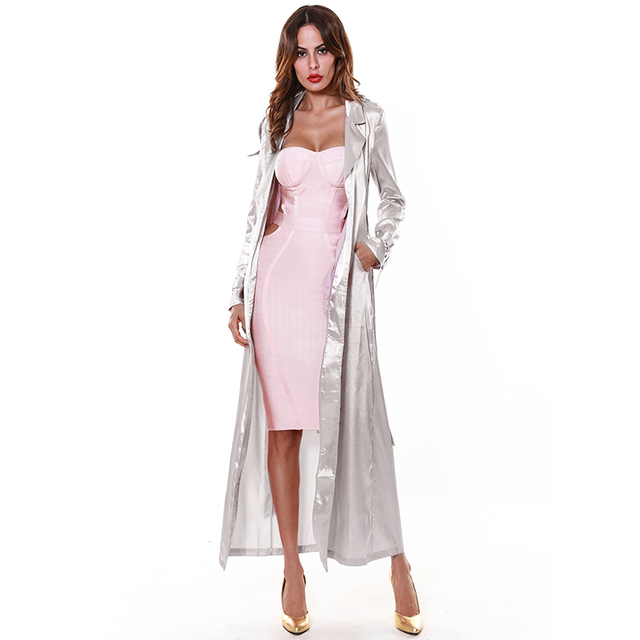 Spring Jacket Women Rose Gold Grey Long Duster Coat Long Sleeve ...