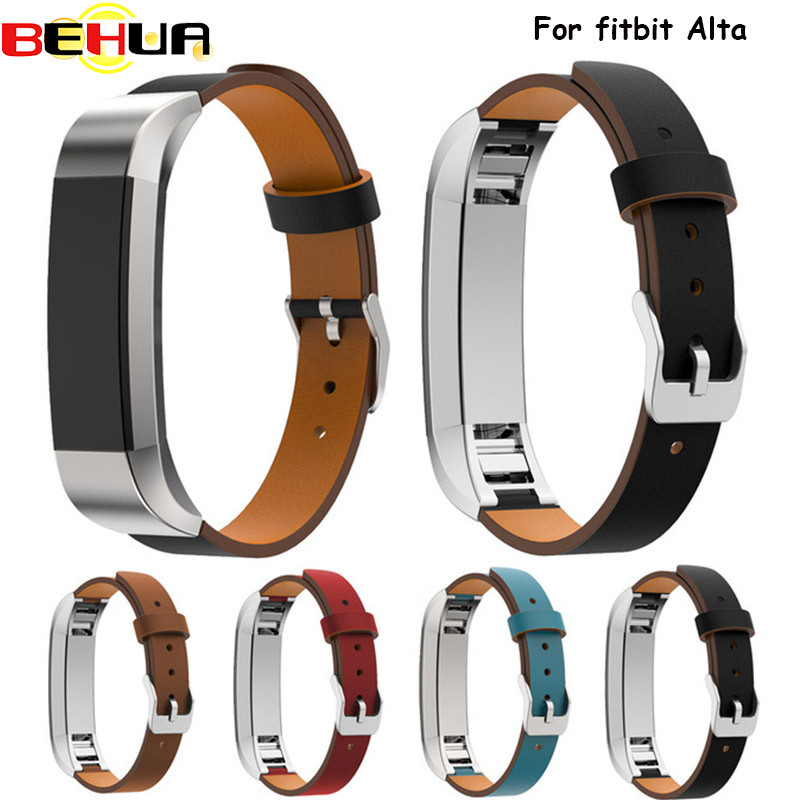 Watchbands Luxury Double Tour Genuine Leather Watch Band Strap Bracelet For Fitbit Alta Tracker Wrist Band Strap High Quality