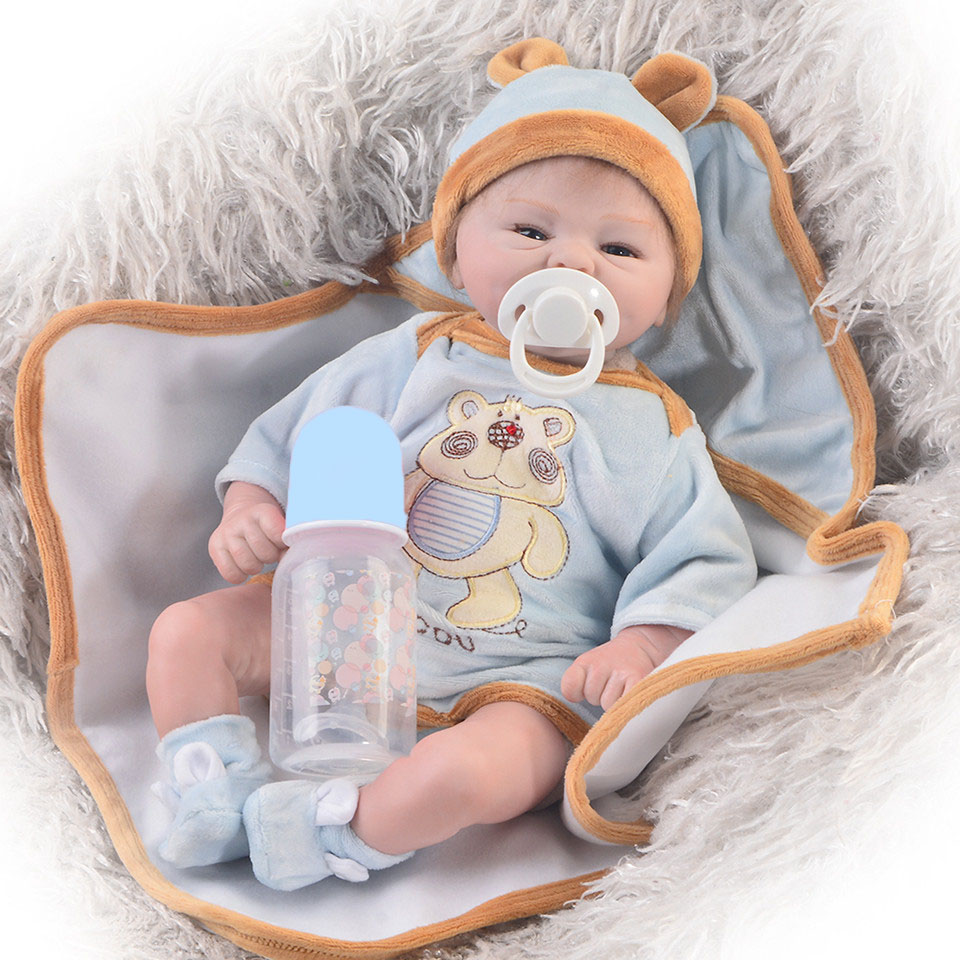 Lifelike Rooted Mohair Reborn Baby Dolls Soft Silicone Real Touch Ethnic Doll Baby Toy Wear Blue Bear Romper Kid Birthday Gifts цена