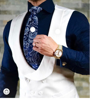 Customize Double Breasted Mens Waistcoat Dinner Party Prom Vests For The Groom Tuxedos OK:010