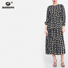 ROHOPO Women Daisy Print Autumn Maxi Midi Dress Three Quarter Sleeve Pleated Overlocked Top Elegant Fenale Vestido #8992