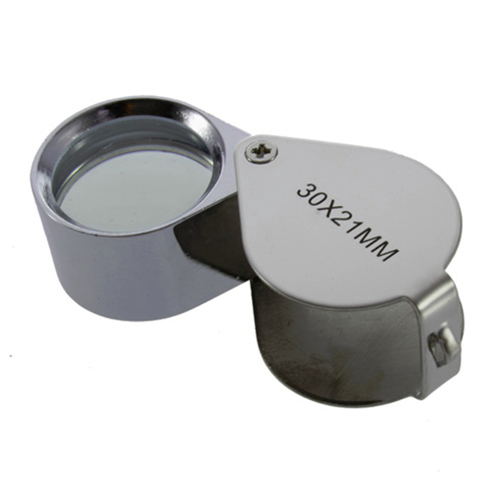 Pocket Jeweler Loupe Magnifier Golden Coins Stamps,Antiques and More Jewelers Loupes 30X Glass Lens Magnifying Glass for Jewelry