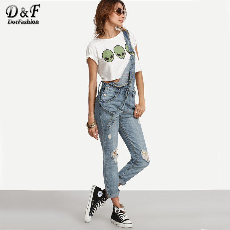 Aliexpress.com : Buy Dotfashion Ripped Stone Wash Denim Overall ...