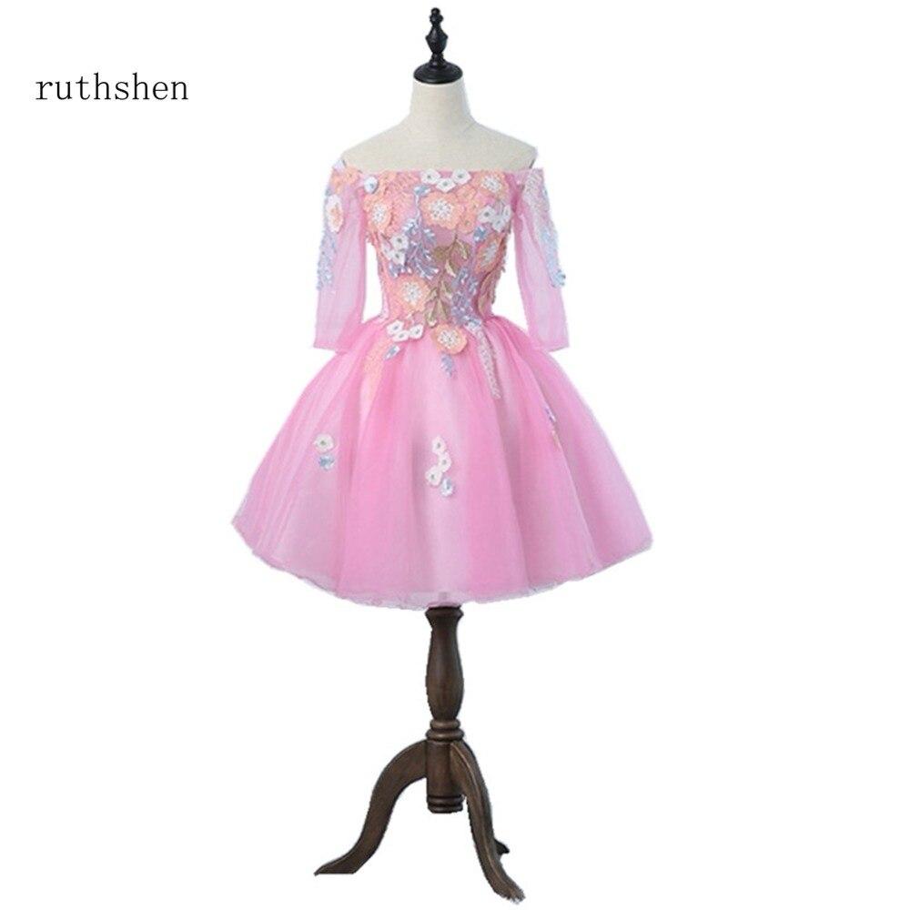 Robe de bal Sexy à lacets en Organza à manches courtes avec fleurs robe de soirée 2018