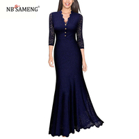 Elegant Women Sexy 3 4 Sleeve Deep V Lace Patchwork Blue Long Gowns Maxi Mermaid Ladies