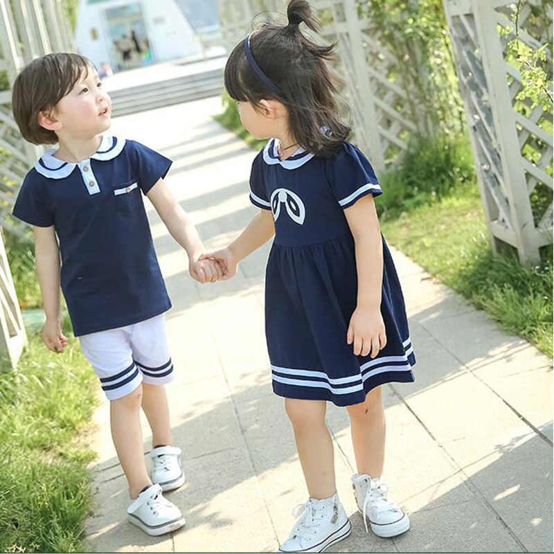 Kids Clothes Set Brother Sister Clothes School Uniforms Navy Style Summer Set 2Pcs Girls sport suit for boy two pieces set 2018 chamsgend summer kids cute baby girls vest pleated dress two pieces set clothes children skirt suit jan7 s25