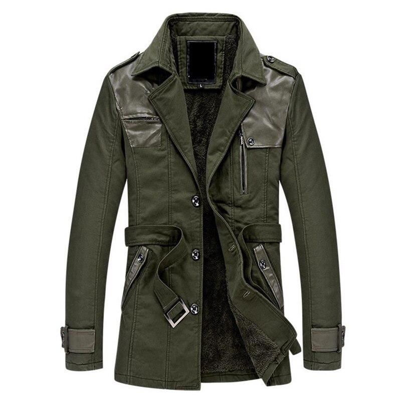 Velours black Coupe Long Solide vent Khaki D'hiver Manteau Chaud armygreen De Plus Le Hommes Veste Col Automne Couleur Et T6wp00