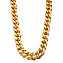 Huge Punk Stainless Steel Charming Gold Color Cuban Curb Link Chain Men's Boy's Daily Jewelry Necklace Or Bracelet 17mm 7-40Inch