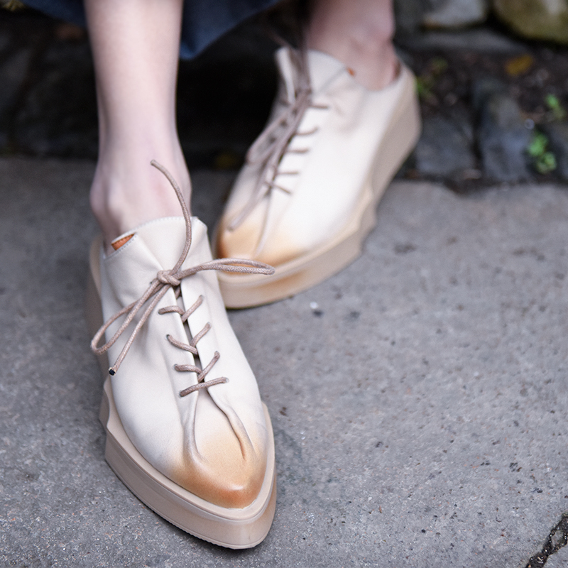 Artmu Original Spring New Japanese Style Pointed Toe Women Slippers Female Genuine Leather Wedges Heels Thick Sole Outdoor Shoes