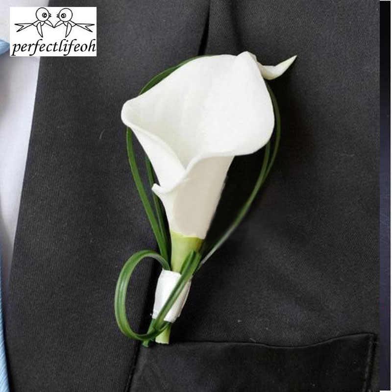 Perfectlifeoh bianco calla fiore di giglio Corpetto Sposo di Nozze groomsman partito Uomo degli uomini del vestito di Fiore All'occhiello pin spilla Hot Risvolto Fiore
