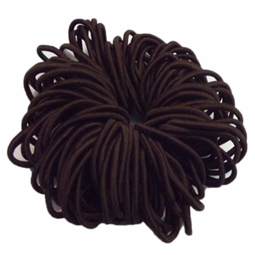 50pcs//Set Black Thick Snag Free Endless Hair Elastics Bobbles Hair Bands hi