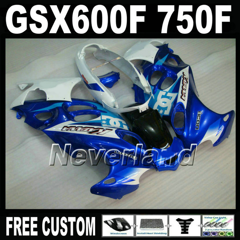 Free customize mold fairing kit for Suzuki GSX 600F 750F 95 96 97-05 blue white fairings set GSX600F 1995 1996-2005 LM42 free customize mold fairing kit for suzuki gsx 600f 750f 95 96 97 05 red black fairings set gsx600f 1995 1996 2005 lm41
