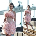 Unique Design Light Pink Short Cocktail Dresses Strapless Beaded Feather Homecoming Dresses Layered Arabia Prom Party Gown p2