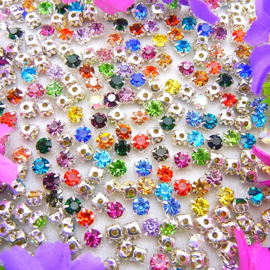 Kristal shumëngjyrëshe kthetra argjendi vendosjen e kthetrave 3 mm - Arte, zanate dhe qepje - Foto 2