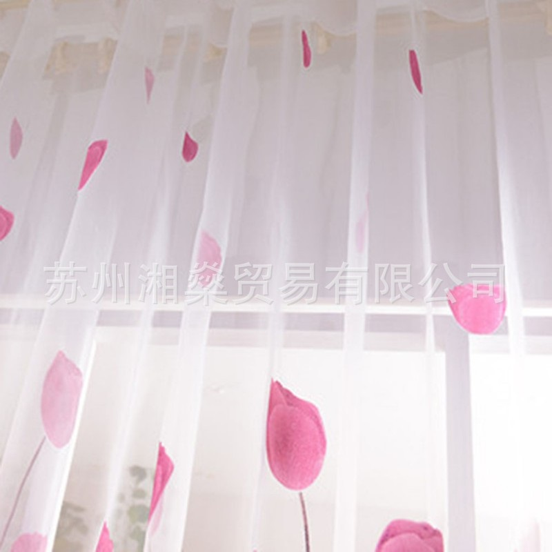 Home textiles Europe and the United States explosion models white tulip curtains screens finished products AliExpress / ebay /(China)