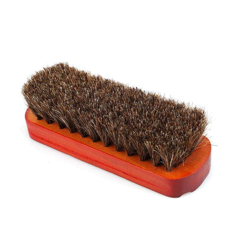 Horsehair Shoe Brush Polish Natural Leather Real Horse Hair shoes Brush Wood Soft Polishing Bootpolish boot clean tools