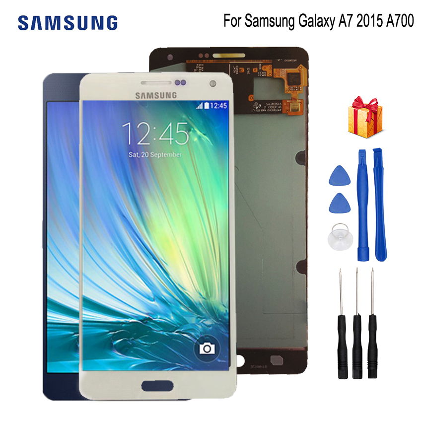 AMOLED For Samsung Galaxy A7 2015 A700 LCD Display A700F A700FD LCD Touch Screen Digitizer Replacement Parts Free ToolsAMOLED For Samsung Galaxy A7 2015 A700 LCD Display A700F A700FD LCD Touch Screen Digitizer Replacement Parts Free Tools