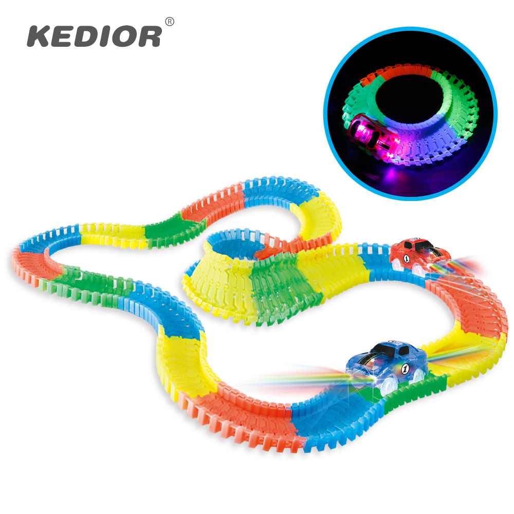 Spare Track Accessories For Magic Tracks DIY LED Light Up Car Toys Race Electronics Glow Car Bridge Tunnel Track Parts