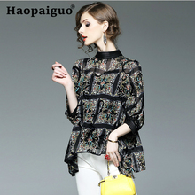 S-3XL Plus Size Chiffon Patchwork Blouse Ladies Long Sleeve Stand Collar Elegant Tops New Fashion Women Sexy Club