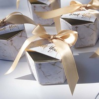50pcs/Lot New Creative Marbling style Candy Boxes Wedding Favors Party Supplies Baby Shower thanks Gift Box