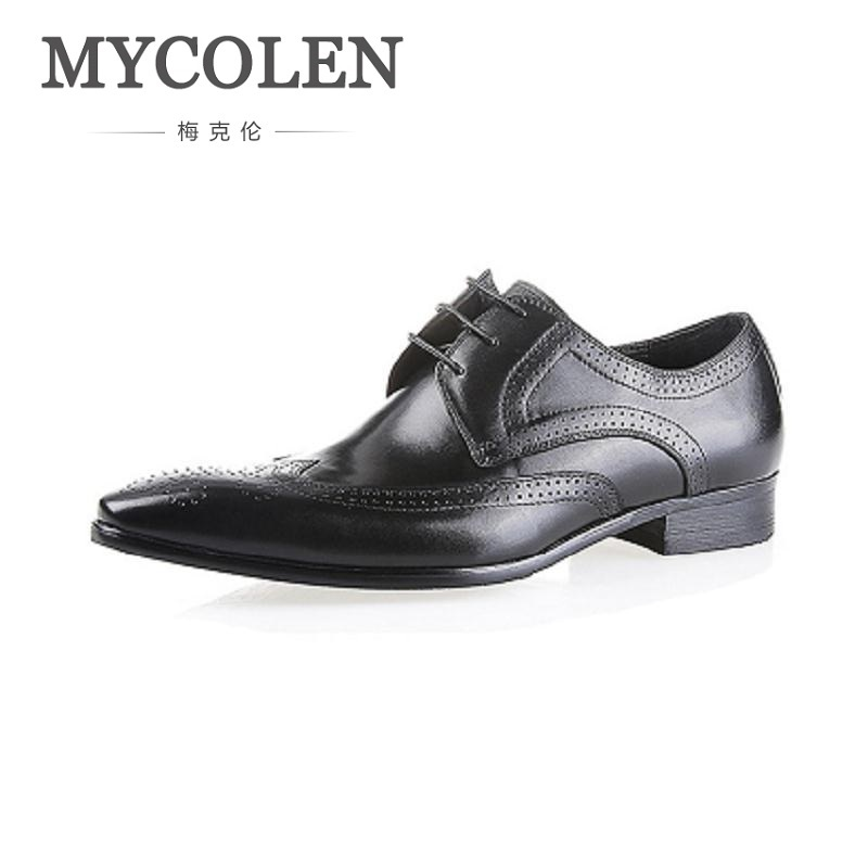 MYCOLEN leather shoes men handmade genuine leather Classic Men's Shoes formal business wedding shoes Sapatos Masculino Couro 247 classic leather