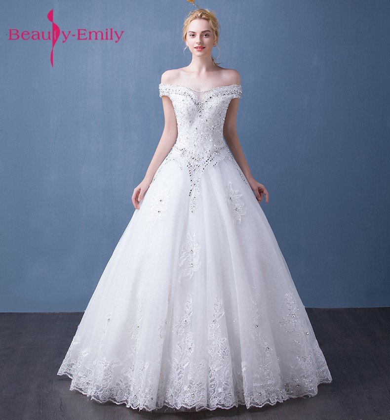 a84550ab44a3 Ομορφιά-Emily Λευκό Beading A-Line Φορέματα Γάμου 2017 Αμάνικες V ...